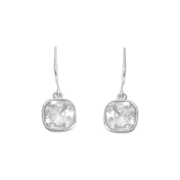 Square Cut Drop Earring - Silver, Love Luxe