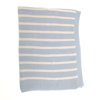 Cotton Baby Blanket, Blue & White Stripes