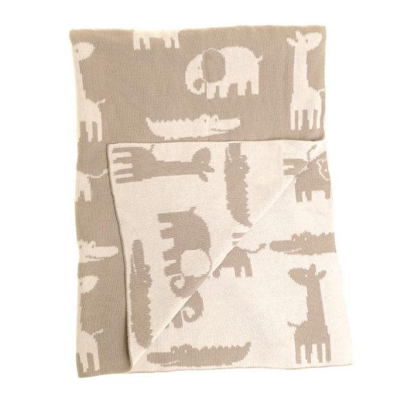 Baby Blanket Grey & White Animals