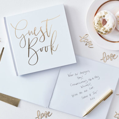 Gold Script Wedding Guest Book