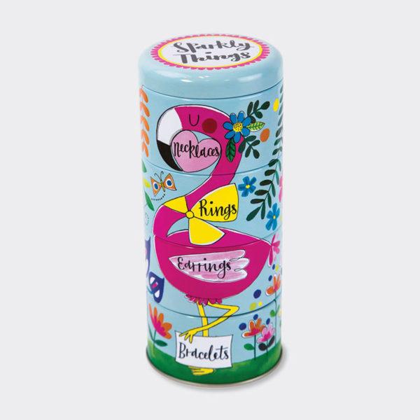 Rachel Ellen Stacking Tins - Flamingo Sparkly Things