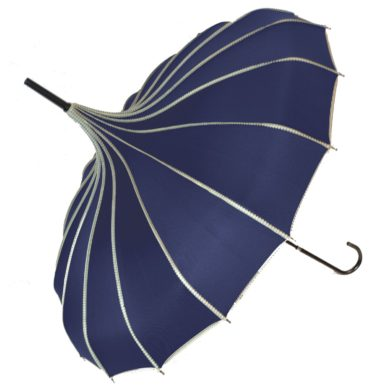 Navy Ribbed Pagoda Umbrella