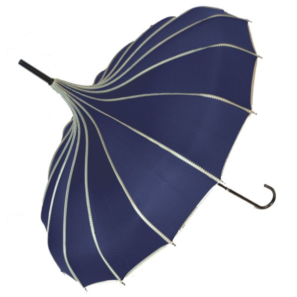 Navy Ribbed Pagoda Umbrella