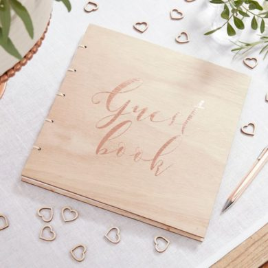 Guest Book - Rose Gold & Wood