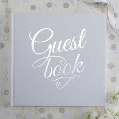 Wedding Guest Book - Silver Script