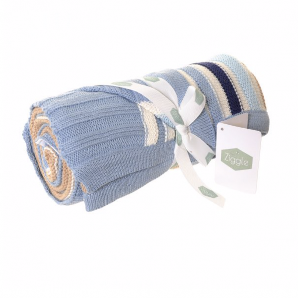 Baby Blanket - Blue & Beige Stripes