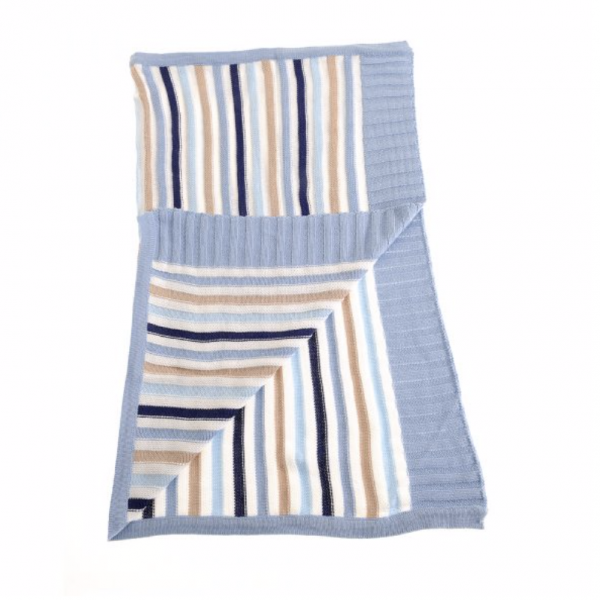 Baby Blanket - Blue & Beige Stripes Open