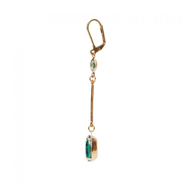 Ella Drop Earrings - Green Side View