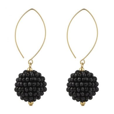 Momuse Gold Filled Black Cluster Oval Earrings