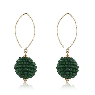 Momuse Gold Filled Green Cluster Oval Earrings