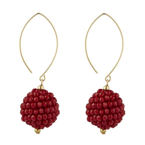 Momuse Gold Filled Red Cluster Oval Earrings
