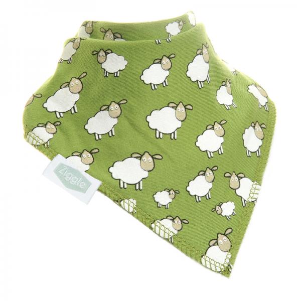Ziggle Bibs - Green Sheep Pattern