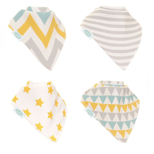 Zippy Bandana Bibs - Gold and Silver Geometric Pack