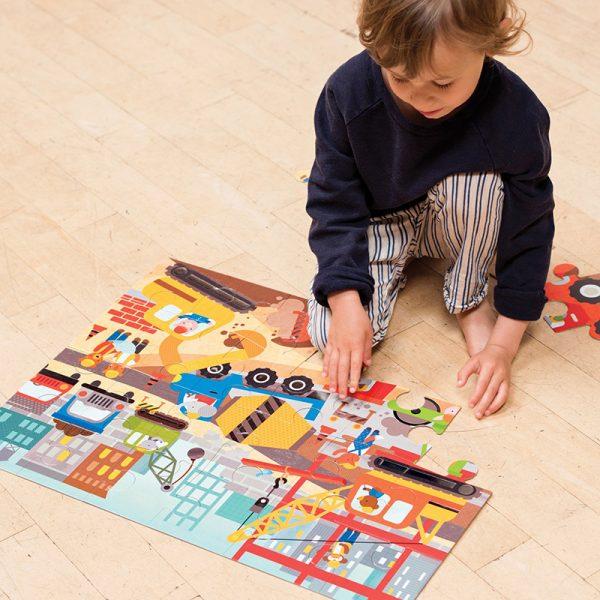 Petit Collage Floor Puzzle - Construction Site Lifestyle