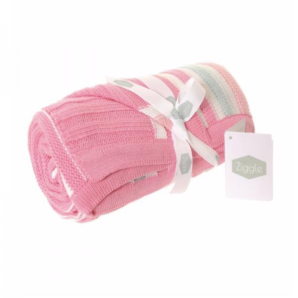 Zippy Baby Blanket - Pink & Green Stripes