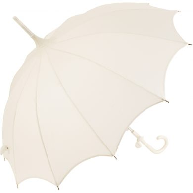 Ivory Wedding Umbrella with Scalloped Edges