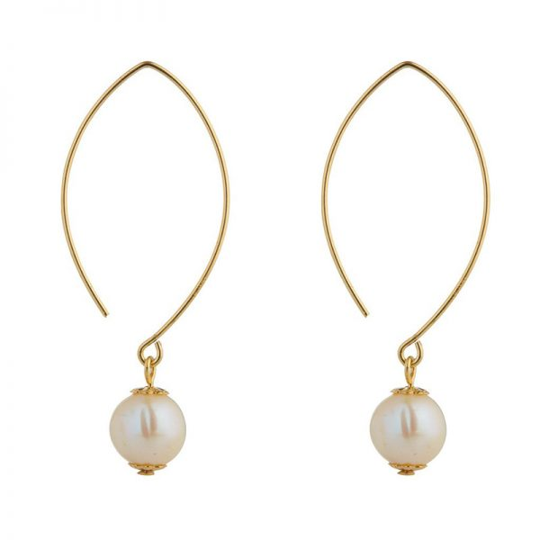 Momuse Gold Filled Oval Pearl Earrings