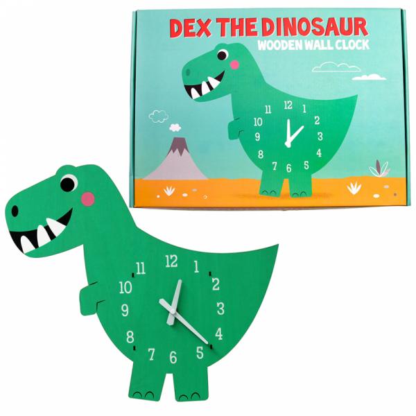 Dex The Dinosaur Wooden Clock