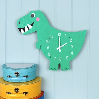 Dex The Dinosaur Wooden Clock Lifestyle