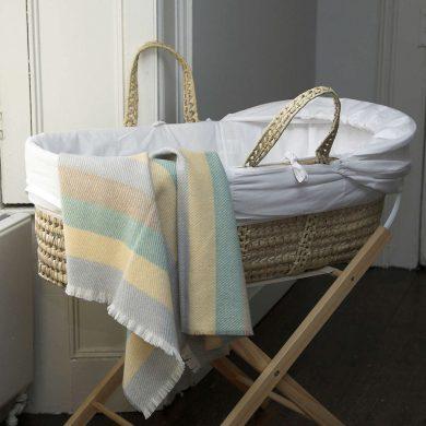 Cushendale Lemon Stripe Baby Blanket