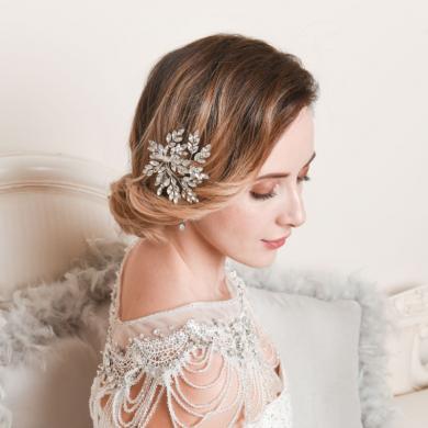 silver bridal hair clip