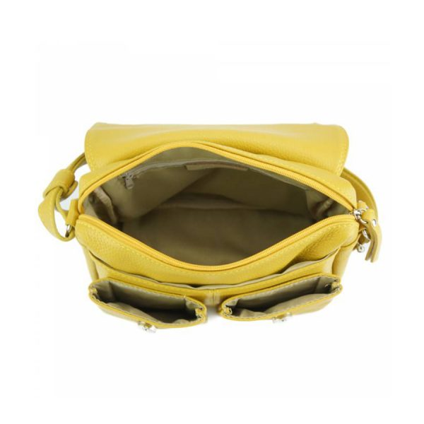 Florence Leather Handbag Yellow Inside