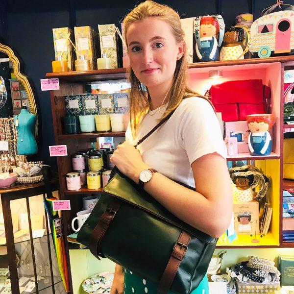 Siena Leather Satchel Green Lifestyle 2