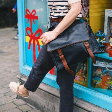siena navy leather satchel