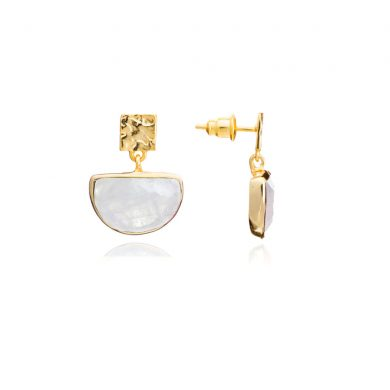 Skylar Gold Half Moon Earrings White