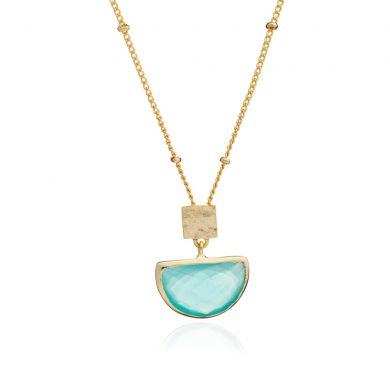 Skylar Gold Half Moon Necklace Aqua