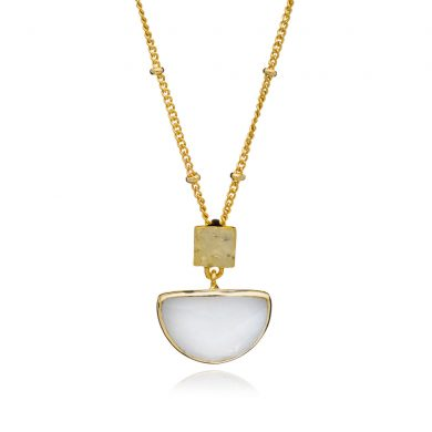 Skylar Gold Half Moon Necklace White