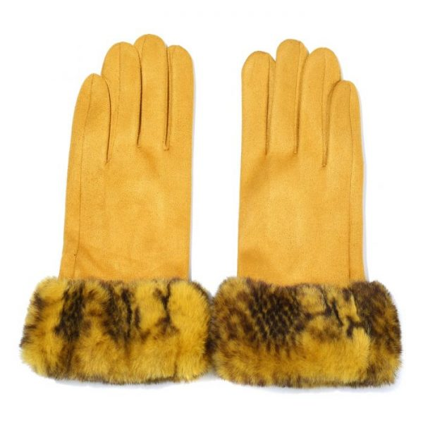 Fur Trimmed Mustard Gloves