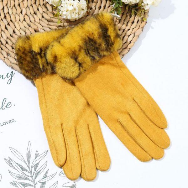 Fur Trimmed Mustard Gloves Lifestyle