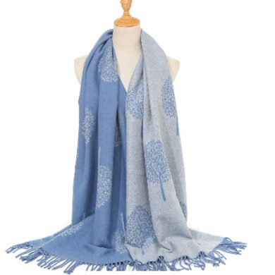 blue tree scarf