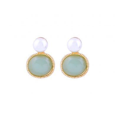 pearl green earrings
