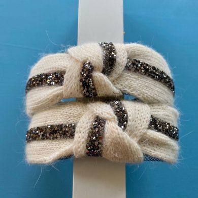 cream wool hairband