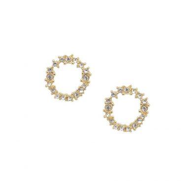 Gold Crystal Cluster Earrings