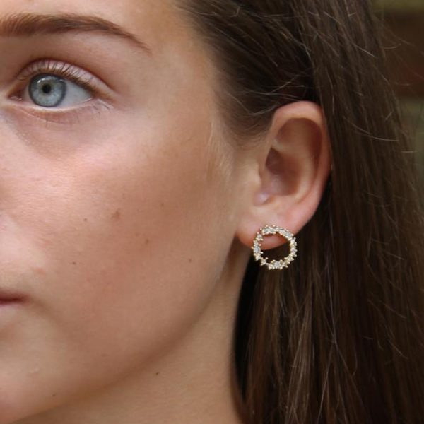 Gold Crystal Cluster Earrings Lifestyle