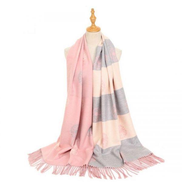 pink grey scarf
