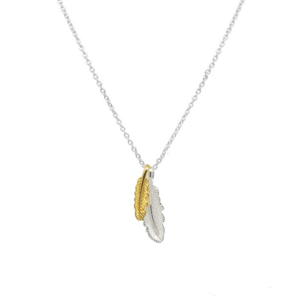 Twin Feather Pendant Silver