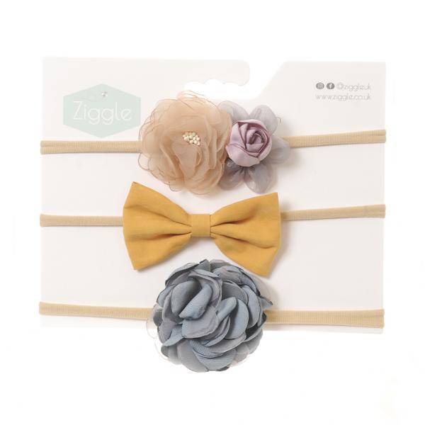 Ziggle Headband -Grey & Mustard Roses