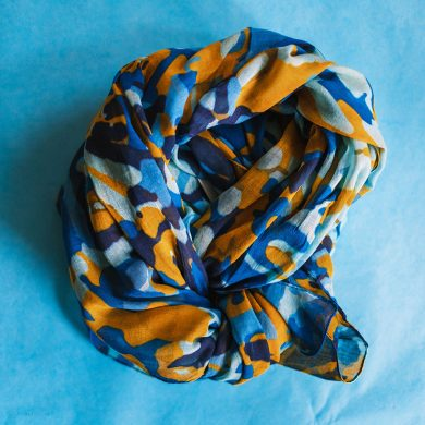 Blue & Orange Abstract Scarf