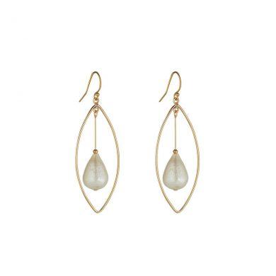 MoMuse Pearl Oval Chandelier Earrings