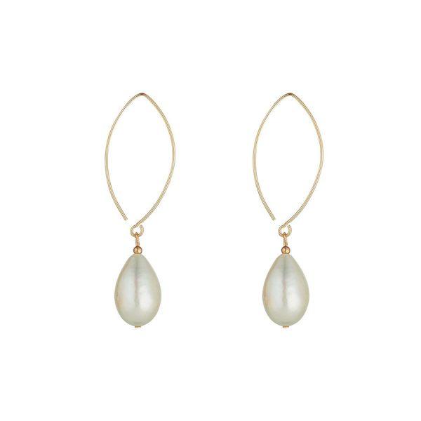 MoMuse Pearl Oval Open Earrings