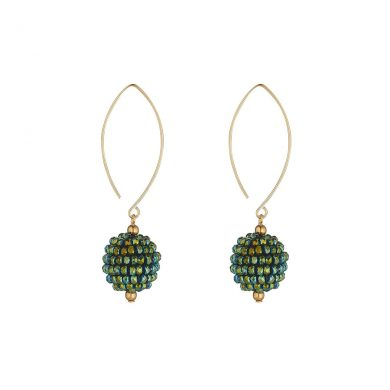 MoMuse Small Green Crystal Cluster Earrings