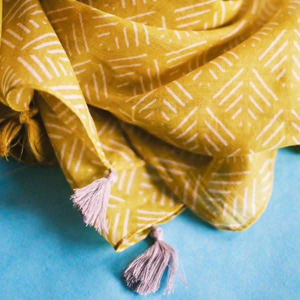 Mustard Geometric Scarf Close-up