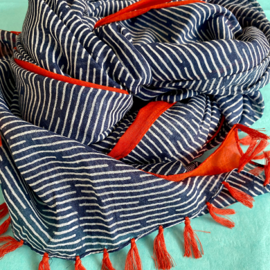 Navy Orange Scarf