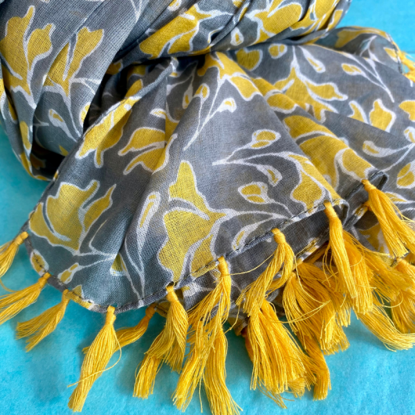 grey mustard scarf