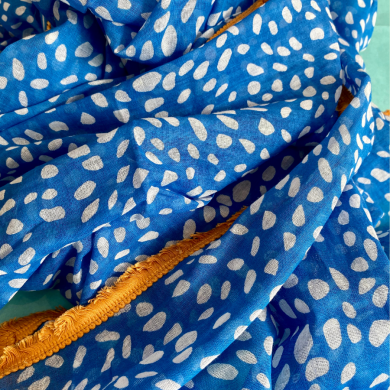 blue yellow spot scarf