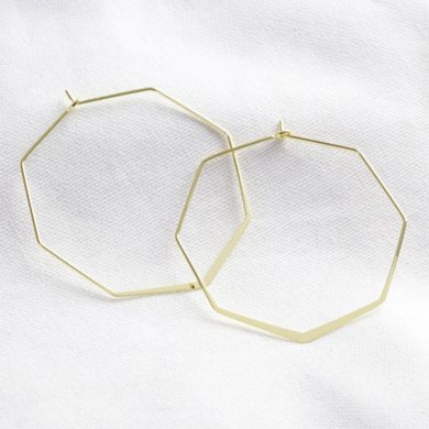 Gold Delicate Octagonal Hoop Earrings